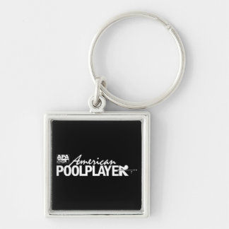Custom American Pool Player - White Silver-Colored Square Key Ring