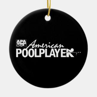 Custom American Pool Player - White Round Ceramic Decoration