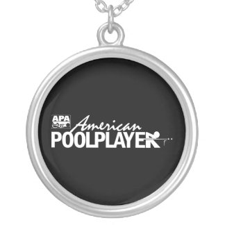 Custom American Pool Player - White Round Pendant Necklace