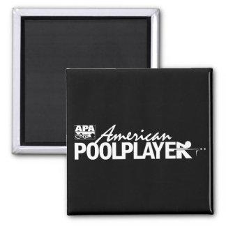 Custom American Pool Player - White Square Magnet