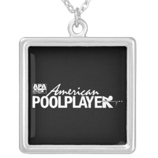 Custom American Pool Player - White Square Pendant Necklace