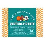 Custom an all-star sport birthday party 13 cm x 18 cm invitation card