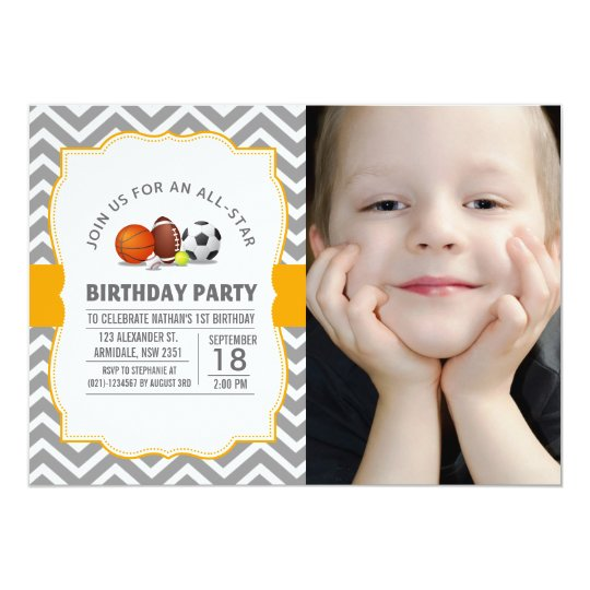 Custom an all-star sport birthday party photo card
