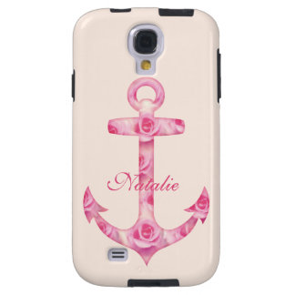Custom Anchor Samsung Galaxy S4 Pink rose Galaxy S4 Case