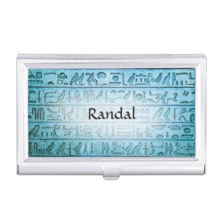 Custom Ancient Egyptian Hieroglyphs Blue Business Card Holder