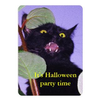 Custom Angry and grumpy Halloween black cat 13 Cm X 18 Cm Invitation Card
