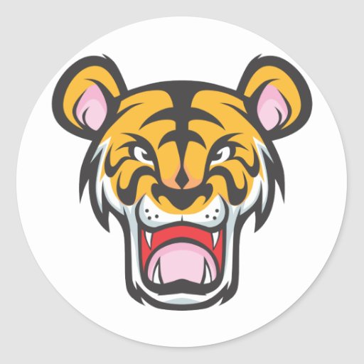 Custom angry tiger cartoon round sticker zazzle for Zazzle custom t shirts