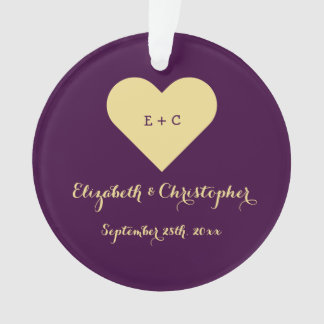 Custom Anniversary Wedding Newlywed Monogram Heart Ornament