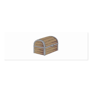Custom Antique Wooden Pirate Treasure Chest Button Double-Sided Mini Business Cards (Pack Of 20)