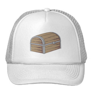 Custom Antique Wooden Pirate Treasure Chest Button Mesh Hats