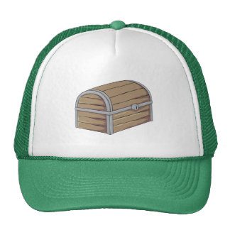 Custom Antique Wooden Pirate Treasure Chest Button Mesh Hat