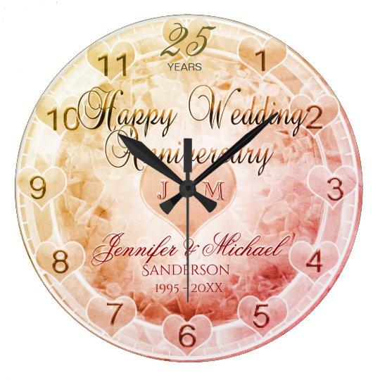 Custom Any Year Wedding Anniversary Hearts Large Clock
