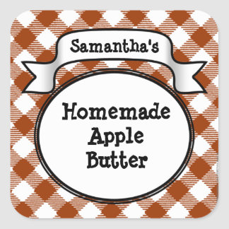 Custom Apple Butter or Anything Canning Jar Label Square Sticker