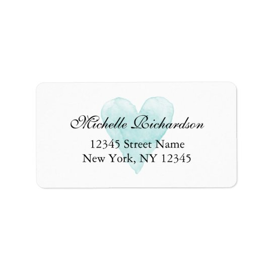 Custom aqua blue watercolor heart address labels