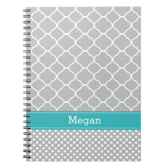 Custom Aqua Grey Quatrefoil Polka Dots Notebook