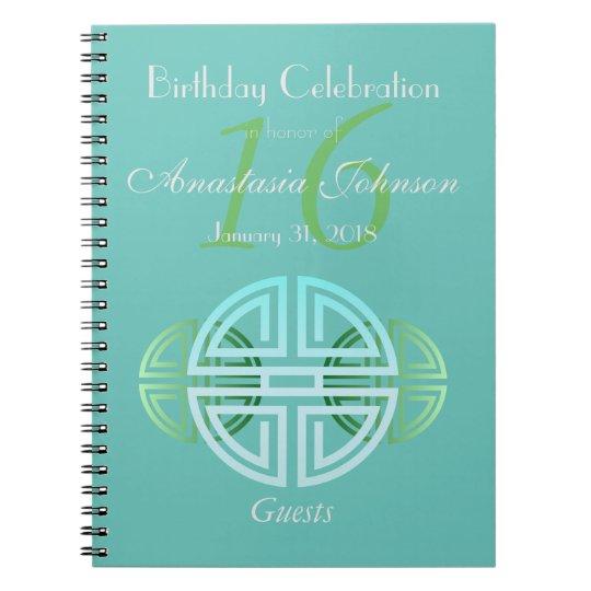 Custom Aqua Mint Longevity Motifs Birthday Guests Notebooks