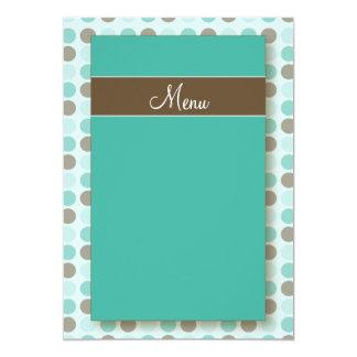 :custom: Aqua Polkadots Menu Cards Invitation