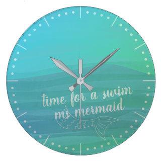 Custom Aqua Watercolor Mermaid Tail Wall Clock