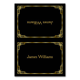 Custom Art Deco Black And Gold Place Cards Table Cards