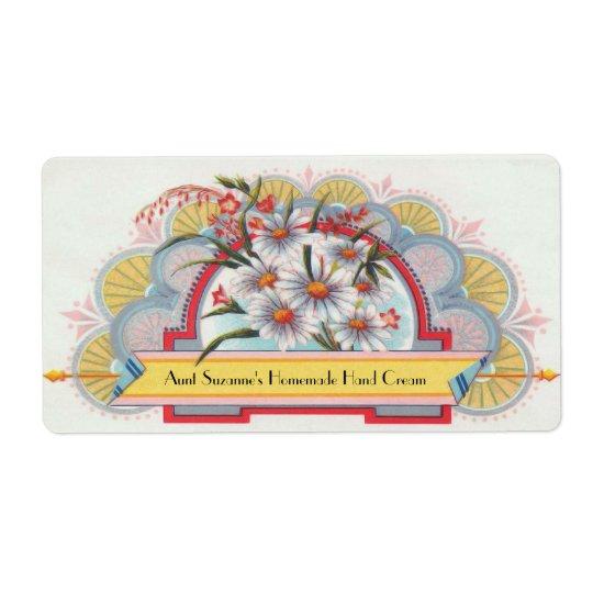 Custom Art Deco Floral Label
