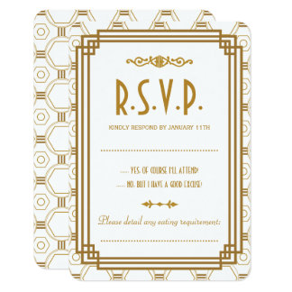 Custom Art Deco White Wedding RSVP Cards