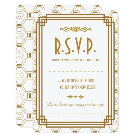 Custom Art Deco White Wedding RSVP Cards