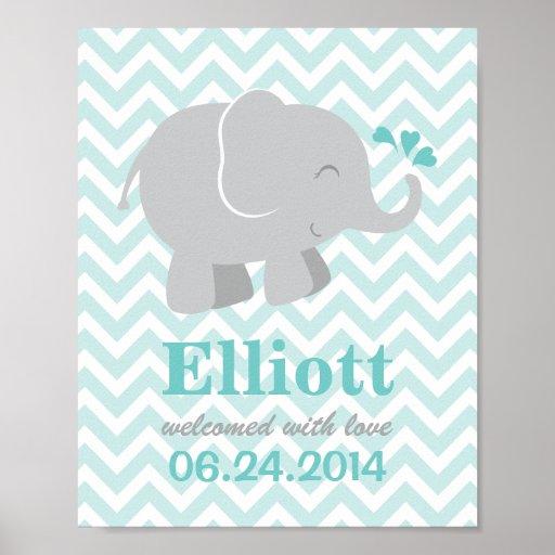 Custom Art Print for Baby | Aqua and Gray Elephant