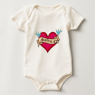 Custom Auntie G Tattoo Heart & Banner Gifts Baby Bodysuit