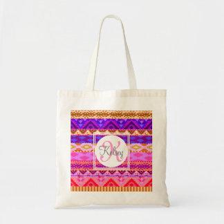 Custom Aztec Girly Monogram Tote Bag