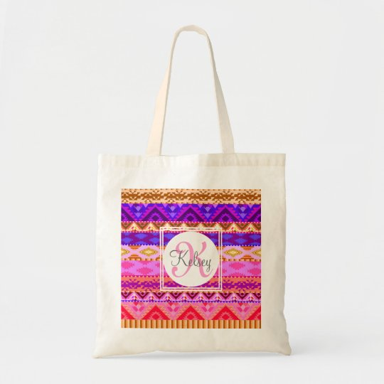 Custom Aztec Girly Monogram Tote Bag