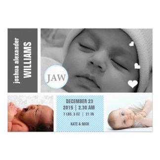 Custom baby boy photo birth announcement