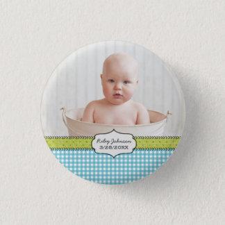 Custom baby boy photo name and birthday keepsake 3 cm round badge