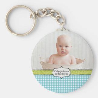 Custom baby boy photo name and birthday keepsake basic round button key ring