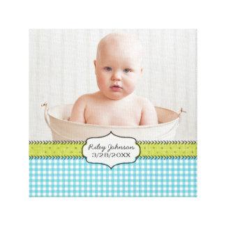Custom baby boy photo name and birthday keepsake canvas prints