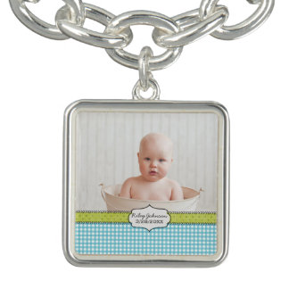 Custom baby boy photo name and birthday keepsake