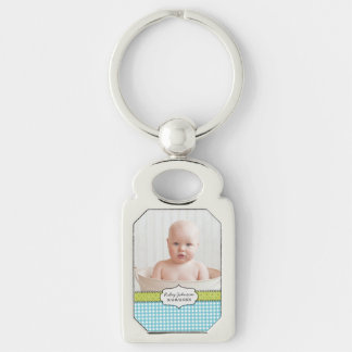 Custom baby boy photo name and birthday keepsake Silver-Colored rectangle key ring