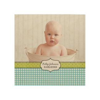 Custom baby boy photo name and birthday keepsake wood print