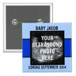 Custom Baby Boy Ultrasound Photo 15 Cm Square Badge