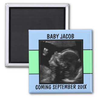 Custom Baby Boy Ultrasound Photo Square Magnet