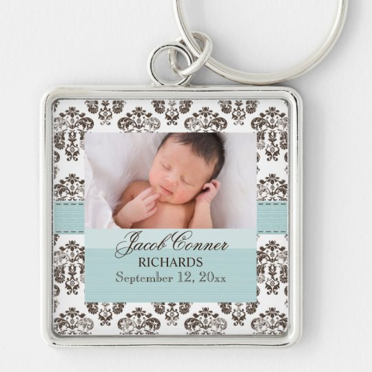 Custom Baby Damask Photo Keychain Blue and Brown