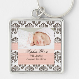 Custom Baby Damask Photo Keychain  Pink and Brown