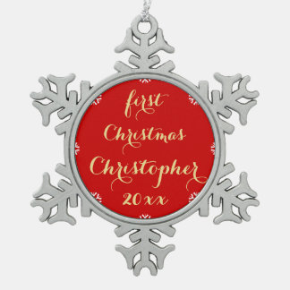 Custom Baby First Christmas Name Faux Gold Script Pewter Snowflake Decoration