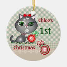 Custom Baby Girl Cat First Christmas Ornament