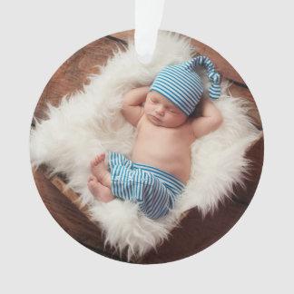 Custom Baby Newborn Photo Holiday Ornament