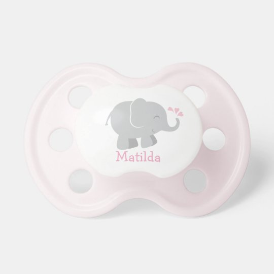 Custom Baby Pacifier | Pink and Grey Elephant