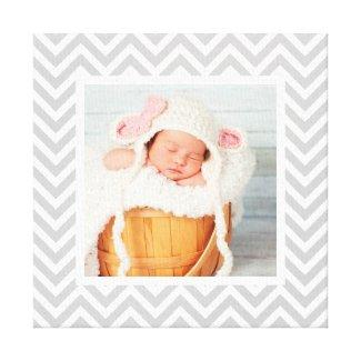 Custom Baby Photo and Chevron Border Nursery Art Canvas Print