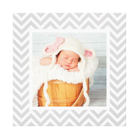 Custom Baby Photo and Chevron Border Nursery Art