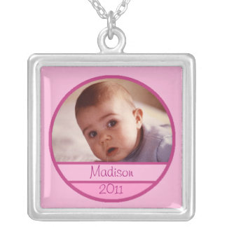 Custom Baby Photo Charm in Pink Square Pendant Necklace