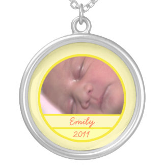 Custom Baby Photo Charm in Soft Yellow Round Pendant Necklace