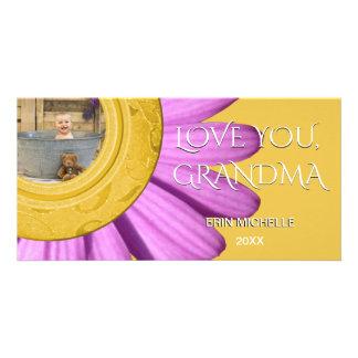 Custom Baby Photo   For Grandma Daisy Flower Photo Card Template